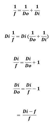 solve for di... 1/f = 1/do + 1/di - Brainly.com